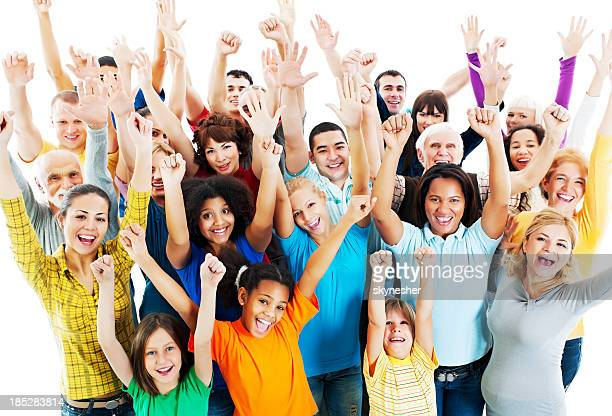 Large Group of Happy People raised hands.