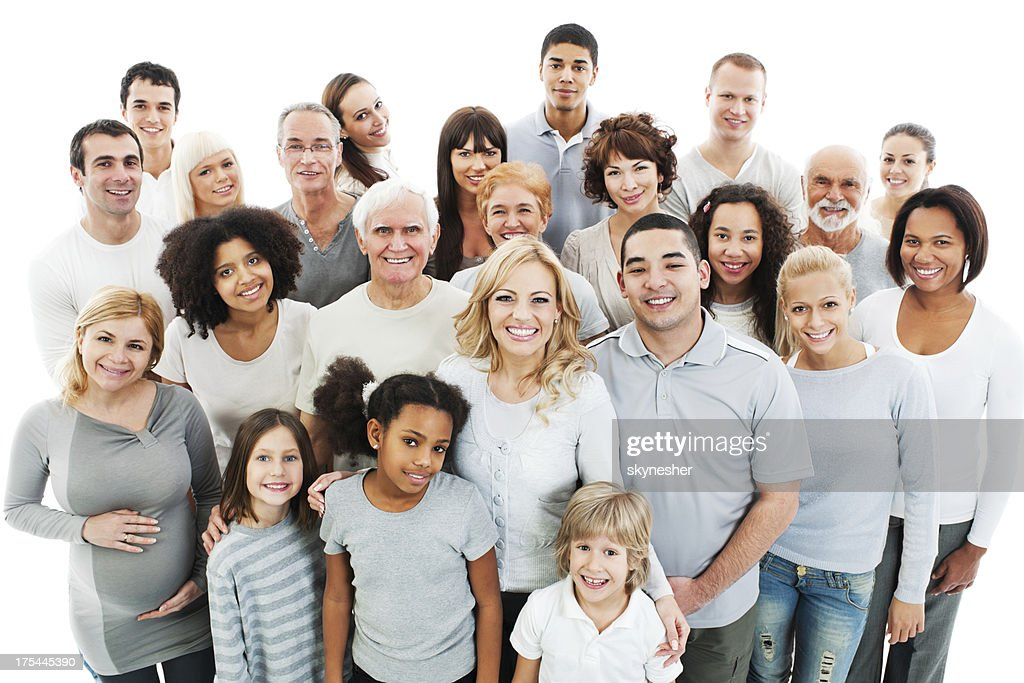 Large Group of Happy People smiling and embracing. : Stock Photo