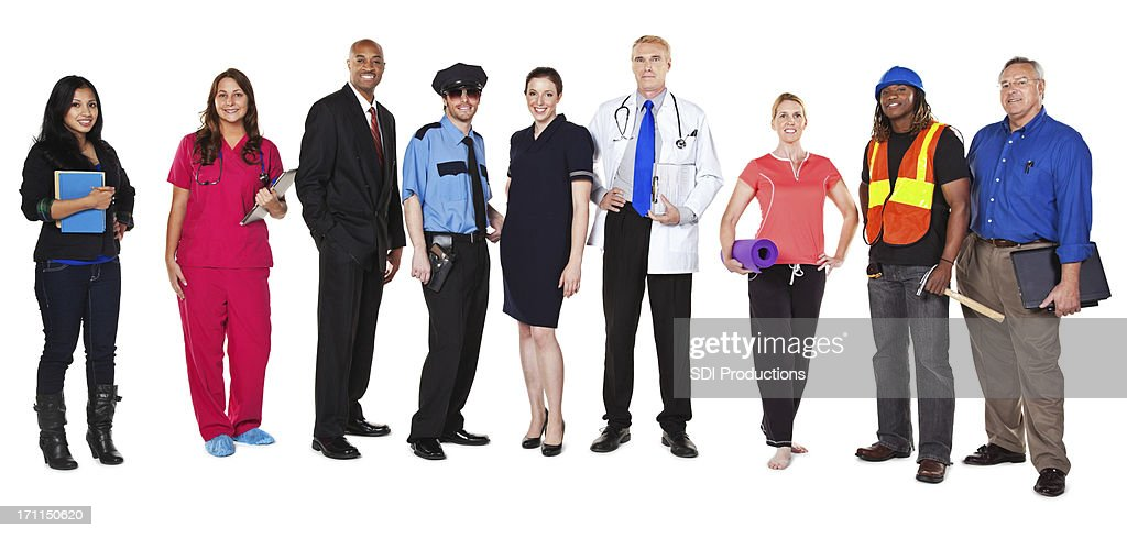 Large Group of Happy Professionals with Different Occupations : Stock Photo