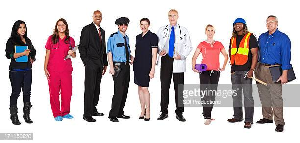Large Group of Happy Professionals with Different Occupations