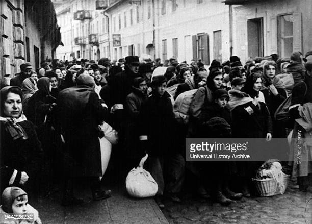 Large group of Jews deported from Warsaw in Poland by the Nazi Occupying forces during World war Two 1943