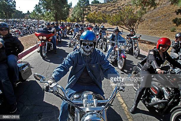 A large group of motorcyclists participating in the 30th annual Love Ride arrive at Castaic Lake Recreation Area after riding from Glendale Sunday...