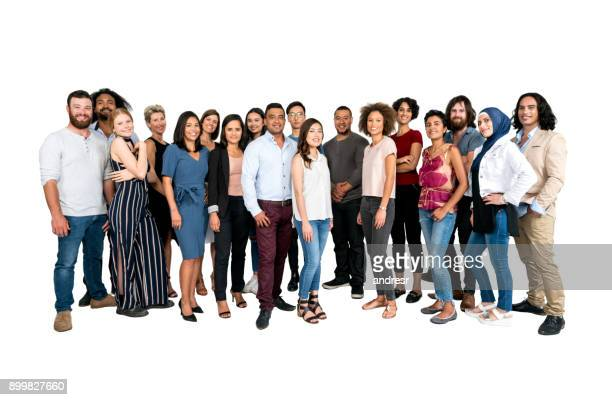 large group of multi-ethnic people isolated - multiracial group stock pictures, royalty-free photos & images