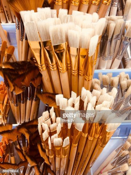 Large group of new paintbrushes with white bristles