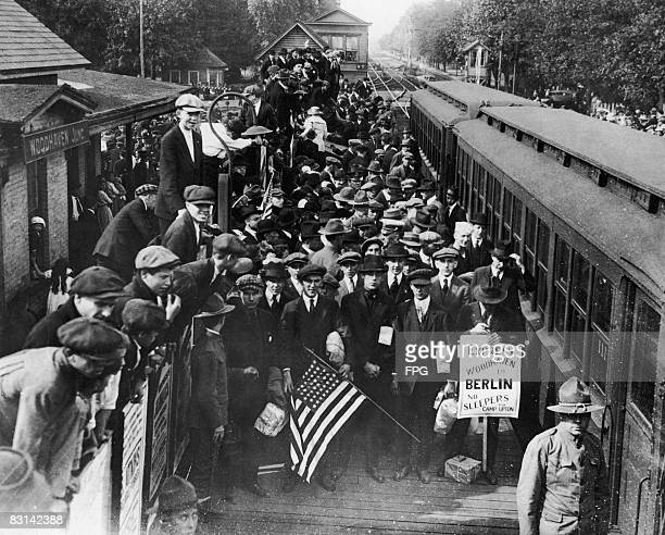 A large group of new recruits to the US Army about to depart from Woodhaven Long Island circa 1918
