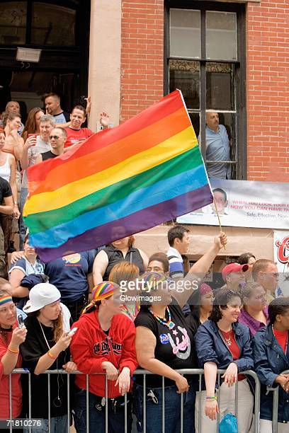 Large group of people at a gay parade