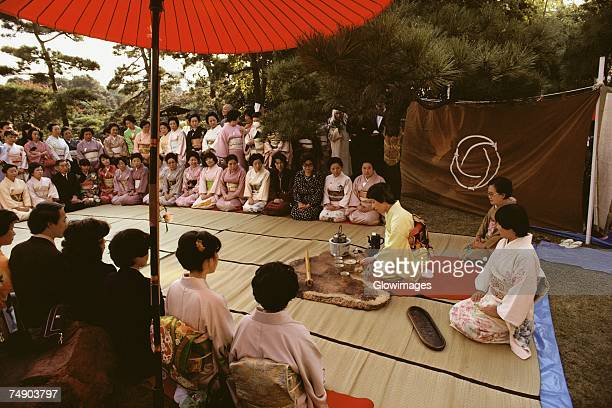 Large group of people at a tea ceremony, Tokyo Prefecture, Japan