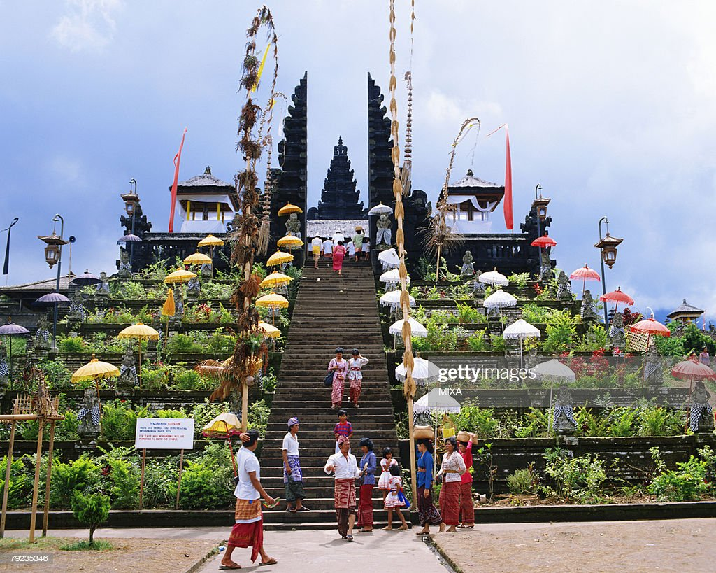 Large group of people at Busaki Temple, Denpasar, Bali, Indonesia : Stock Photo
