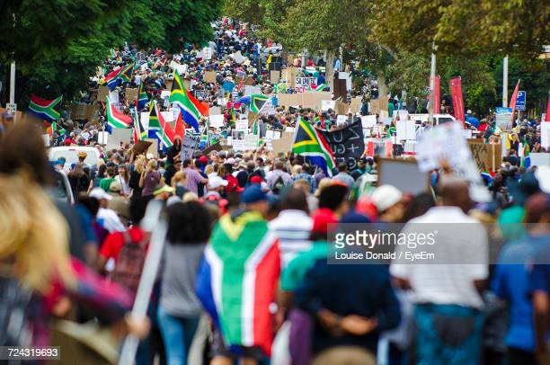 large group of people at protest - tshwane stock pictures, royalty-free photos & images