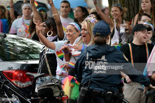 Large group of people gathers to counter protest Aden Rusfeldt and his following near the end of the Pride Parade route in Philadelphia PA on June 10...