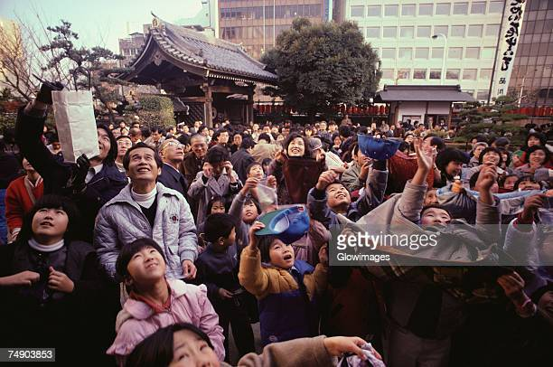 Large group of people looking up, Tokyo Prefecture, Japan