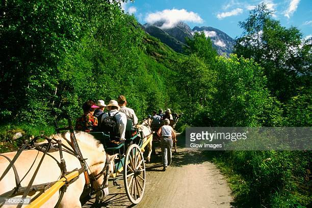 Large group of people riding a horse cart, Briksdalsbreen Glacier, Norway