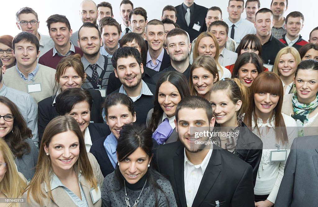 Large group of people smiling in camera : Stock Photo