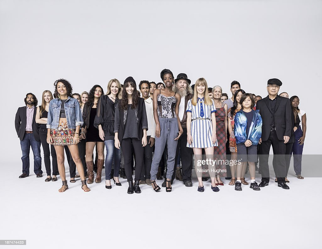 Large Group of people standing close together : ストックフォト