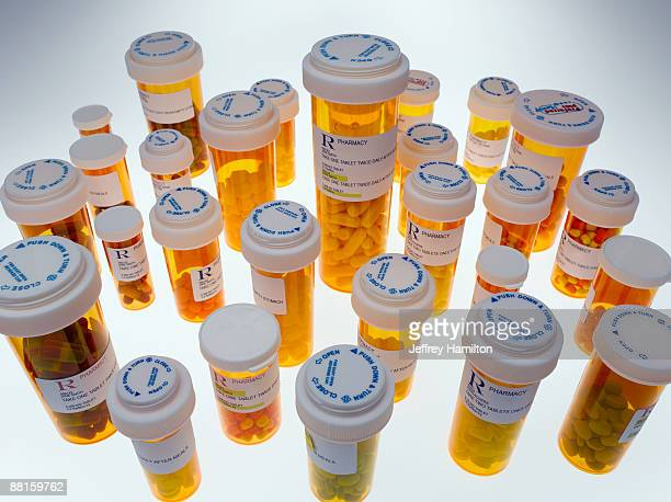 Large group of pill bottles