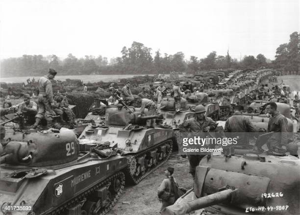 A large group of Sherman tanks of the 2nd French Armored Division which had landed at Saint Martin de Varreville August 1944 General Leclerc was...