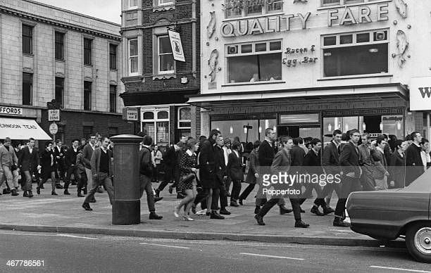 A large group of skinhead daytrippers in Southend Essex on the Easter Monday bank holiday 30th March 1970 Around five hundred skinheads have...