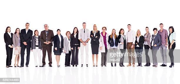 Large group of 笑顔ビジネス人のライン。