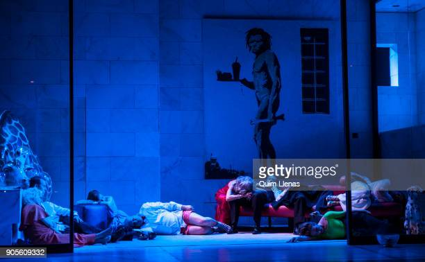A large group of Spanish actors perform during the dress rehearsal of the play 'El angel exterminador' by Luis Bunuel on stage at the Espanol Theatre...