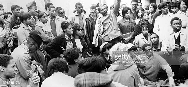 A large group of students at Morgan State College at a demonstration in the spring of 1968 Baltimore Maryland 1956