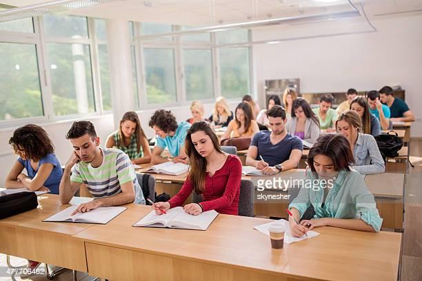 Grand groupe d'étudiants assis dans une salle de classe et l'apprentissage.