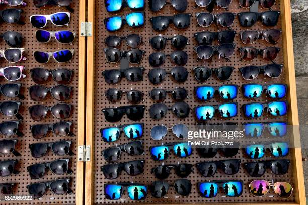 Large group of sunglasses for sale at Puerto Montt city, Chile