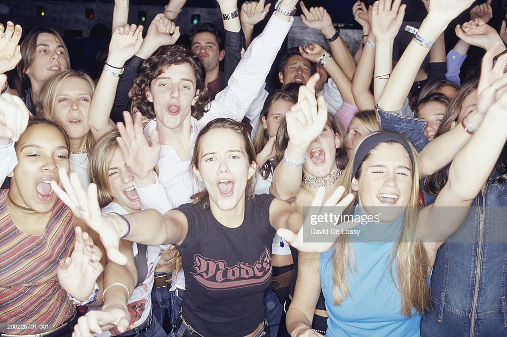 Large group of teenagers at club, portrait : Stock Photo