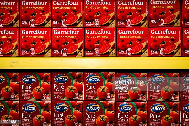 Large Group of tomato paste packedisolated