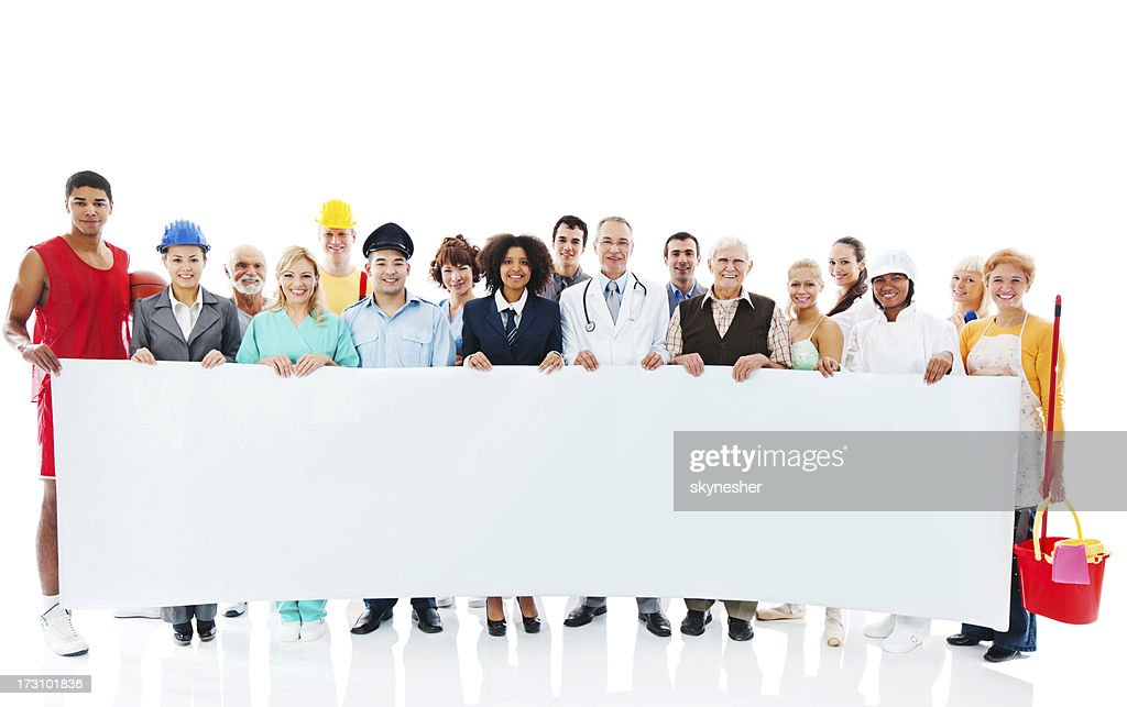 Large Group of Various Occupations people holding blank paper. : Stock Photo