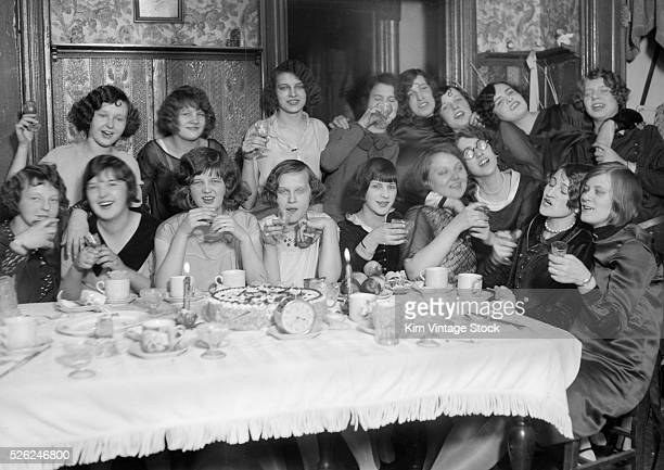 A large group of young women have fun at a luncheon in Chicago