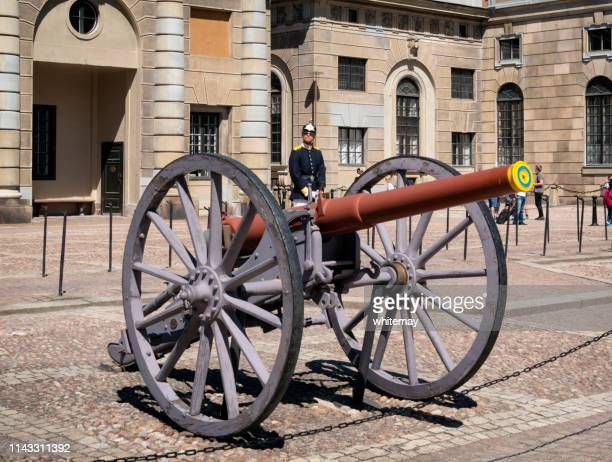 large gun outside the royal palace in stockholm, capital of sweden - the stockholm palace stock pictures, royalty-free photos & images