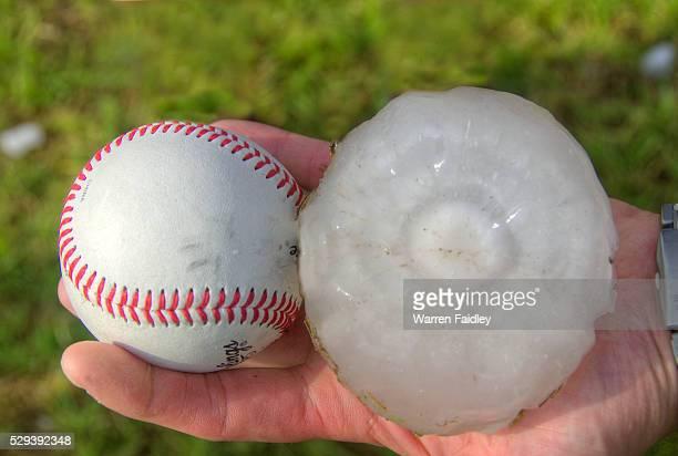 large hailstones following joplin tornado - 雹 ストックフォトと画像