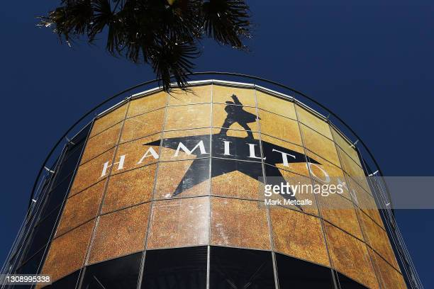 Large Hamilton advert is seen at the Star during a media call for Hamilton Australia at Lyric Theatre, Star City on March 25, 2021 in Sydney,...