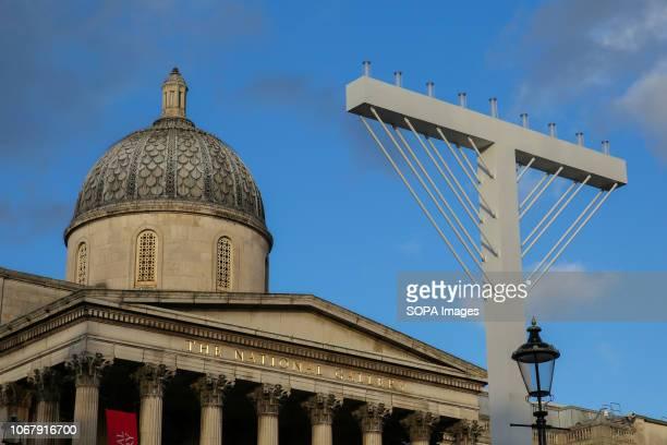 Large Hanukkah Menorah is seen in Trafalgar Square, London for The Jewish Hanukkah festival, also known as the Jewish festival of lights. The...