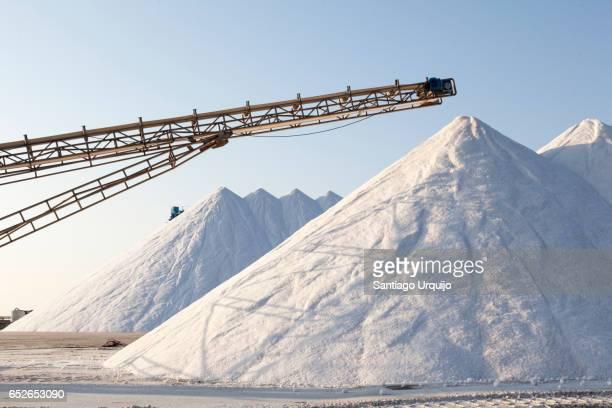 Large heap of white salt