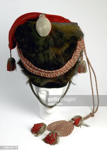Large high booth of bear's fur from the big tambour of the militia, hanging red velvet pointed hat, cuff with four tassels and silver tulip, cap hat...