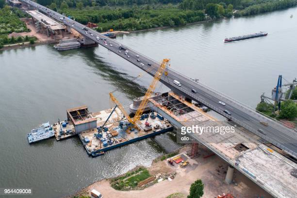 large highway bridge construction site schiersteiner bruecke - rhine river stock pictures, royalty-free photos & images