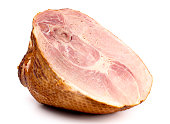 A Large Holiday Ham on a White Background