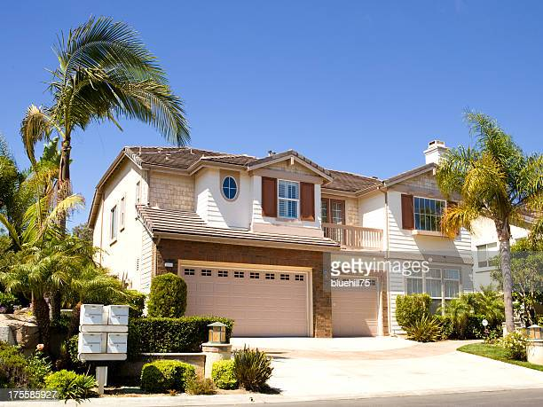 Large house next to palm trees in California