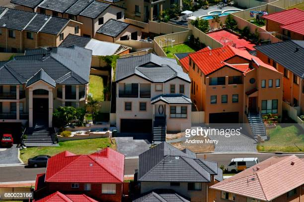 large houses, cecil hills, western sydney, aerial photography - housing difficulties stock pictures, royalty-free photos & images