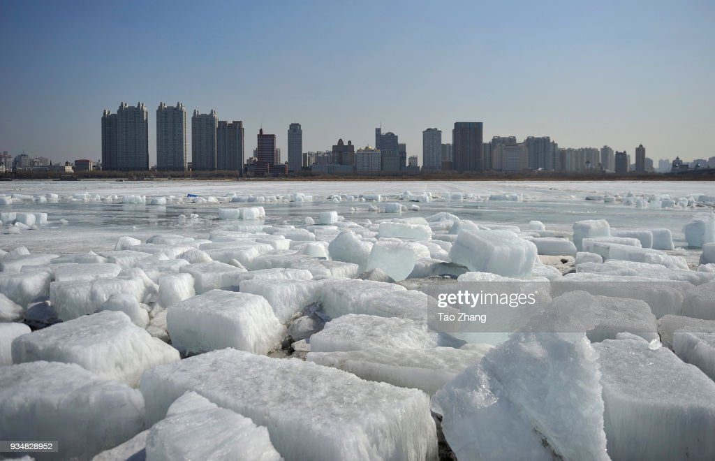 Large Ice Floes Floating On The Songhua River