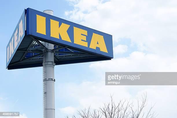 Large IKEA logo on pole