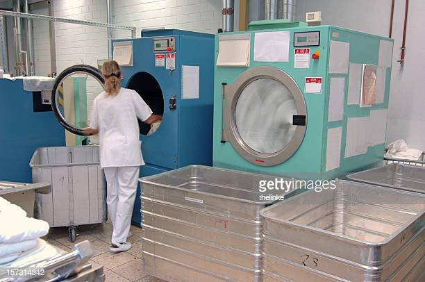 Large industrial washing machines and dryers