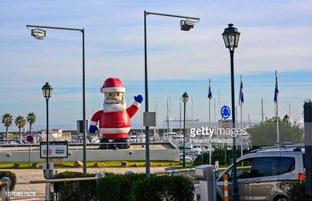 A large inflatable Santa Claus greets those coming into the Marina de Cascais in a sunny Sunday afternoon on December 09 2018 in Cascais Portugal All...