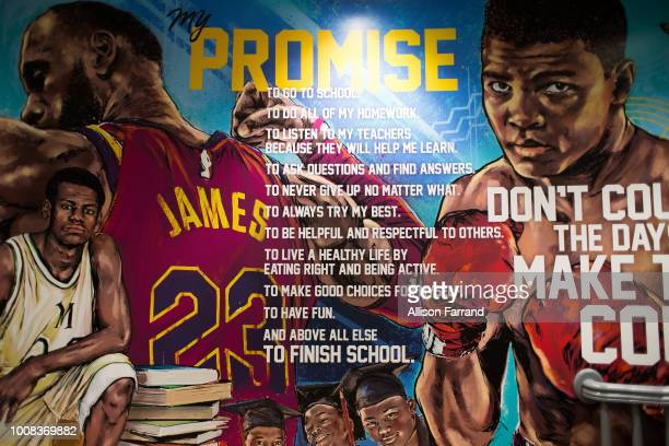 Large inspirational murals at the I Promise school on July 30 2018 in Akron Ohio The new school is a partnership between the LeBron James Family...