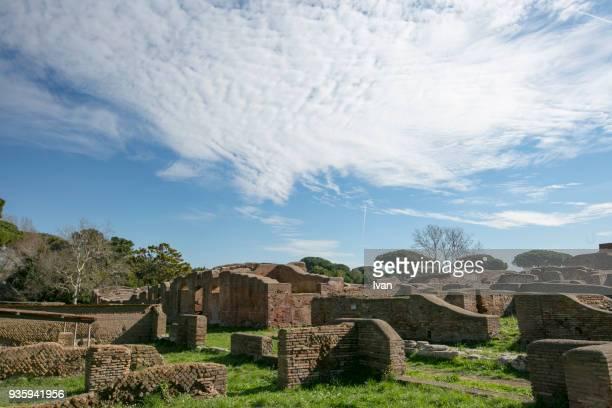 Large insula apartment building, ancient Roman harbor city of Ostia Antica