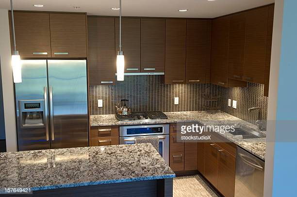 Large kitchen with Island with granite countertops