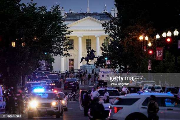 A large law enforcement response is seen near the White House after a protest was dispersed on June 1 2020 in downtown Washington DC Protests and...