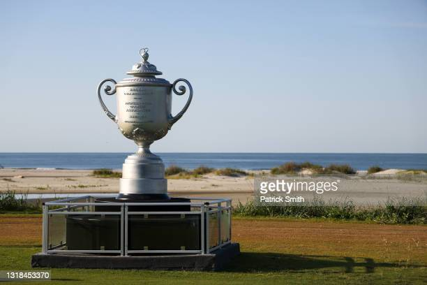 Large likeness of the Wanamaker Trophy is displayed during a practice round prior to the 2021 PGA Championship at Kiawah Island Resort's Ocean Course...
