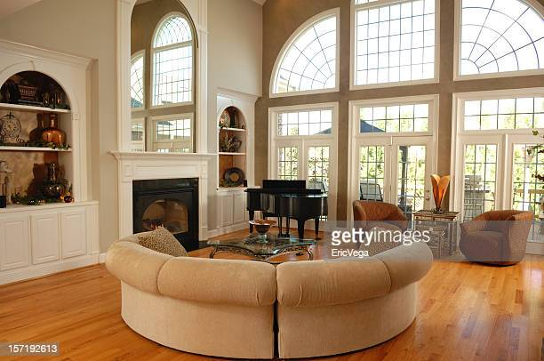 large living room - erker stockfoto's en -beelden